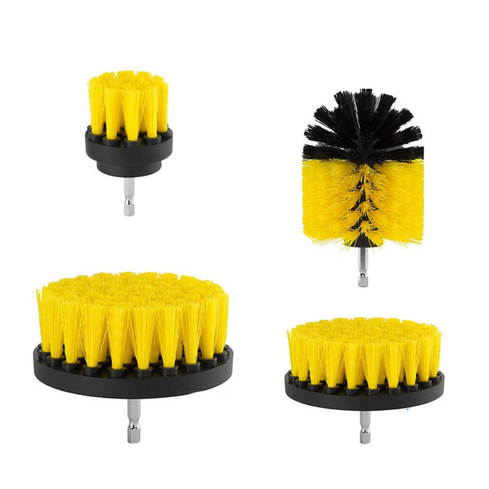 Scrub Brush Drill Attachment Kit by ELEOPTION, Heavy Duty Scrubbing Drill Brush Nylon Cordless Drill Powered Spinning Brush Great for Cleaning Pool Tile, Flooring, Brick, Ceramic, Marble (4 set)