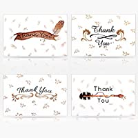 Geekper 16 Pack Kraft White Assorted Greeting Cards for Wedding Thanksgiving Christmas Baby Shower with Envelope 7.9 x 5.9 x 0.7 inch