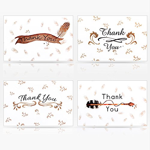 Christmas Filigree Cards (Geekper 16 Thank You Greeting Cards - Folded Thank You Note Cards 4 Designs for Thanksgiving Christmas Wedding Birthday - Envelopes Included 5.9 x 3.9 inch)