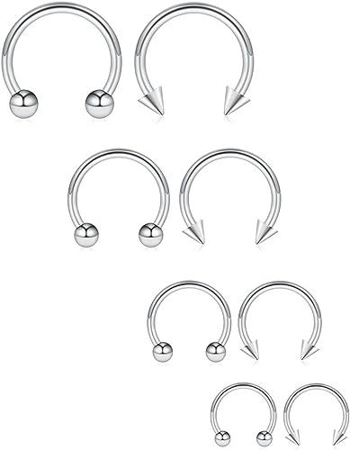 16G Nose Septum Horseshoe Hoop Earring Eyebrow Tragus Lip Piercing Ring 3mm Ball 10mm Surgical Steel