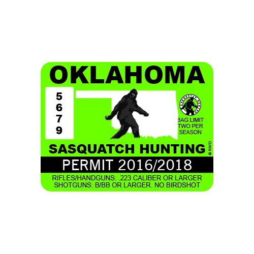 Oklahoma Sasquatch Hunting Permit - Color Sticker - Decal - Die Cut