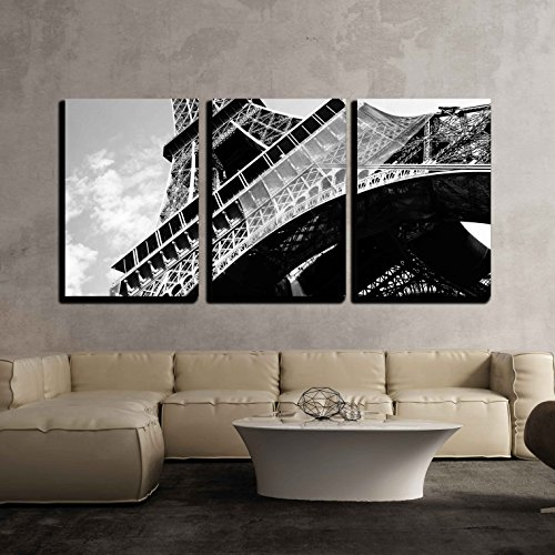 wall26-3 Piece Canvas Wall Art - Detailed Bottom View of Eiffel Tower, Paris, Black and White Image - Modern Home Decor Stretched and Framed Ready to Hang - 24