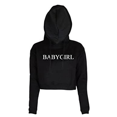 36d395531 Women Babygirl Letters Print Long Sleeve Crop Top Hoodie Sweatshirts  Outfits,Black