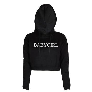 8cd850054994 Women Babygirl Letters Print Long Sleeve Crop Top Hoodie Sweatshirts ...