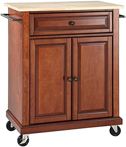 Crosley Furniture Cuisine Kitchen Island With Natural Wood Top   Classic  Cherry