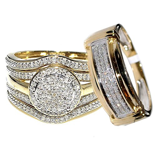 Amazon Com Rings Midwestjewellery Com 4 Piece 10k Yellow Gold 0 66