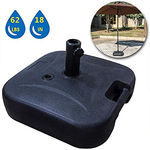 """LOKATSE HOME 18"""" Square Outdoor Patio Market Stand Heavy Duty-Water Filled 62 lbs, Umbrella Base(Black)"""
