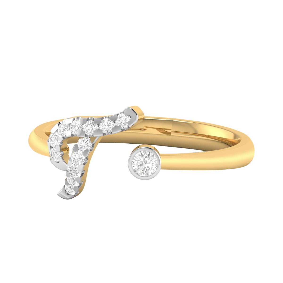 DTJEWELS T Letter Adjustable Ring 0.81 Ctw Round Cut Sim Diamond in 14K Yellow Gold Plated Sterling