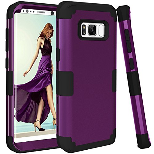 Price comparison product image Samsung Galaxy S8 case, PIXIU Shockproof Hybrid High Impact Hard Plastic+Soft Silicon Rubber Armor best cases for galaxy s8 2017 Release Purple / Black