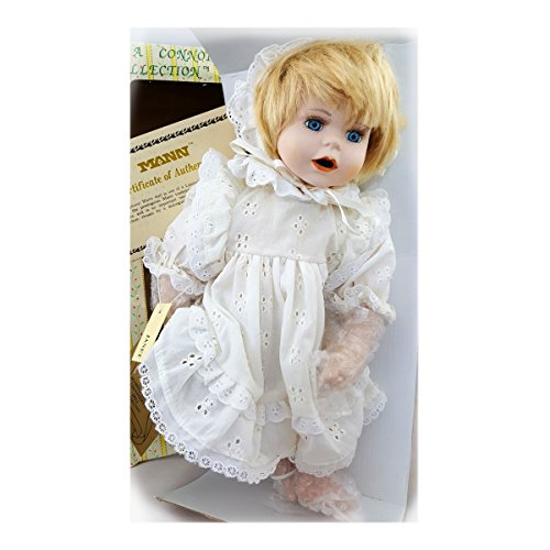 "Vintage Seymour Mann ""Janet"" A Connoisseur Collection Doll Little Girl Porcelain 14"" Vintage White Dress"