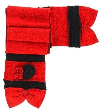 24b3148e2cd69 Charleselie94® - écharpe longue laine bouillie fleurs rouge noir ALBERT