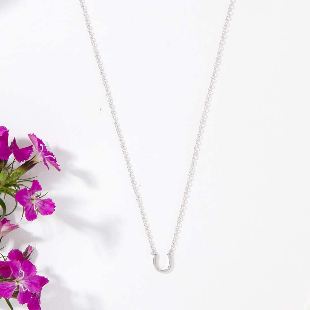 Mom Necklace Silver-Plated-Brass, NA Gifts for Mom Dear Ava Mother Daughter Gift Necklace Horseshoe