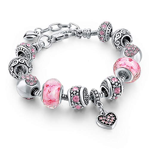 "Long Way Silver Tone Chain Pink Crystal Love Heart Bead Glass Charm Bracelet with Extender 7.5""+1.5"""