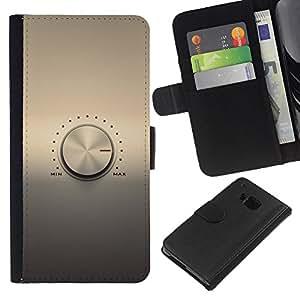 JackGot ( Perilla de volumen ) HTC One M7 la tarjeta de Crédito Slots PU Funda de cuero Monedero caso cubierta de piel