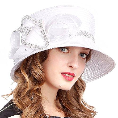 - VECRY Women's Dressy Church Baptism Wedding Derby Hat (Rhinestone-White)