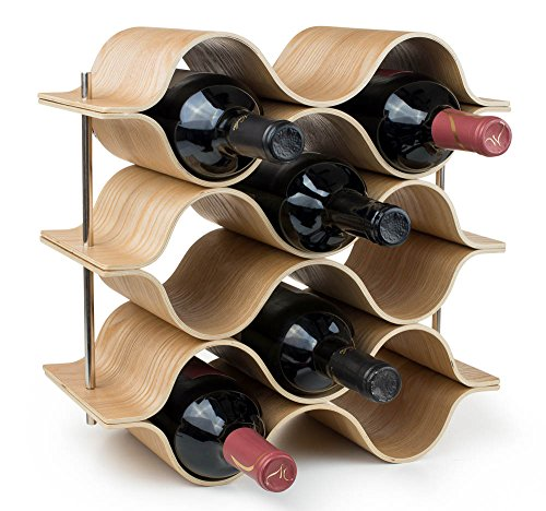 BREVER 8 Bottle Wooden Wave Wine Rack | Freestanding for Table, Bar or Counter |Modern Minimalist Design |Easy Assembly | Sweet and Dry Wines |for Small Home Wet ()