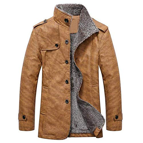 Faux Manica Khaki Invernali Capispalla Vestiti Giacche In Lunga Leather Pu Caldi Cappotti Pelle Vintage Termici Mens AwO8xZd