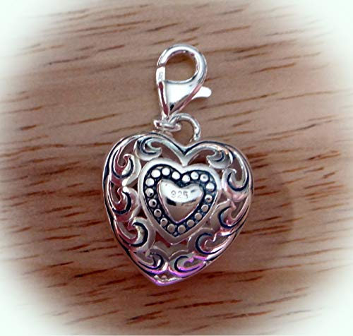 Sterling Silver 3D 20x17x7mm Beautiful Cut Out Filigree Puffy Heart Charm Clasp Vintage Crafting Pendant Jewelry Making Supplies - DIY for Necklace Bracelet Accessories by CharmingSS