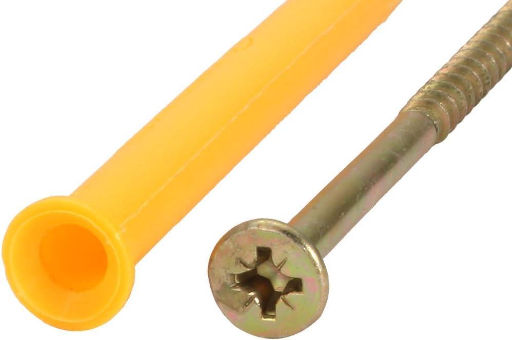 uxcell 30Pcs 8mmx100mm Self Drilling Drywall Anchor Carbon Steel Flat Head Screw Assortment