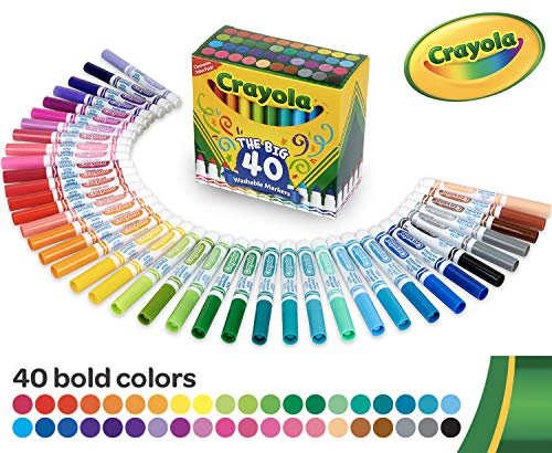Crayola Ultra Clean Washable Broad Line Markers, 40 Classic Colors,