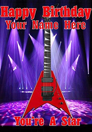 Rojo Flying V Guitarra Estilo cptmi37 feliz cumpleaños A5 Tarjeta de felicitación personalizadas publicado por nosotros