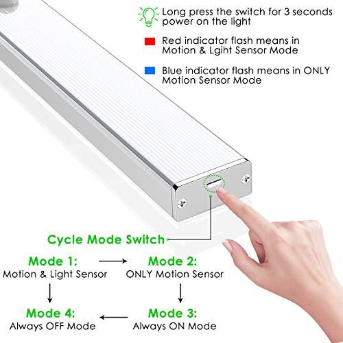 LED Closet Light, Newest Version Rechargeable 62-LED Motion Sensor Closet Light Wireless Under Cabinet Light for Closet, Cabinet, Wardrobe, 2 Sensor Mode (Motion Sensor, Motion & Light Sensor) by LOFTER (Image #3)