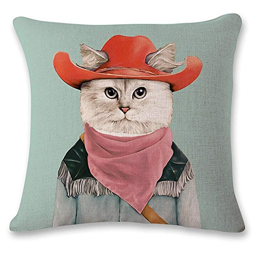 Ashasds Creative Dog Cat Animal Cowboy Orange Hat Throw Pillow Covers For Home Indoor Friendly Comfortable Cushion Standard Size 20X20 In]()