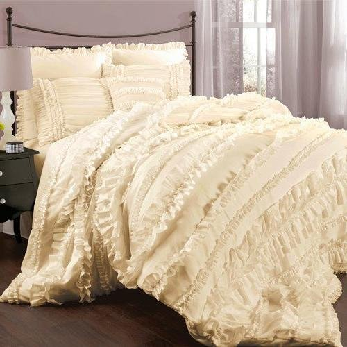 4pc Girls Ivory Ruffled Stripes Pattern Comforter Queen Set, Boho Chic Hippie Indie, Modern Master Bedrooms, Vibrant Solid Color, HighEnd Luxurious Textural Design Bedding