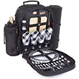 Plush Picnic - 4 Person Picnic Backpackwith Cooler Compartment, Detachable Bottle/Wine Holder, Fleece Blanket, Plates and Cutlery Set