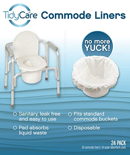 TidyCare Commode Liners – Convenience Pack XL - Bedside Commode Liners - 24 commode liners and 24 super-absorbent pads - Adult commode chair - Commode pail liners - Universal fit - Commode Pail Liner