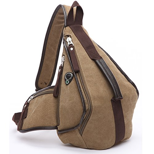 BOBILIKE Casual Canvas Backpack Sling Bags Vintage Chest Pack Crossbody Shoulder Daypack for Men &Women, Khaki