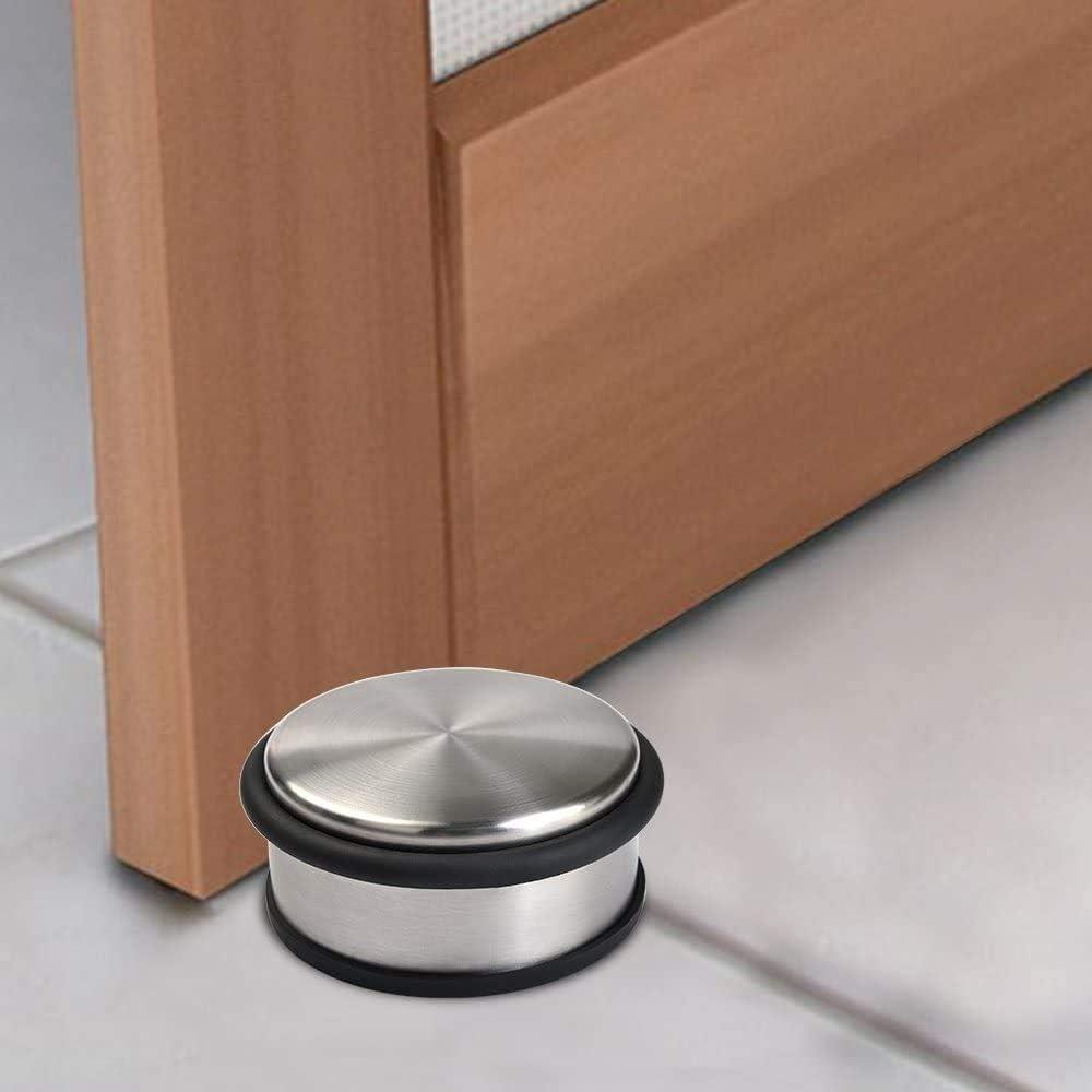 dise/ño moderno y redondo LATERN Tope para puerta 4 unidades, acero inoxidable, 1,2 kg, di/ámetro 10 cm, antideslizante