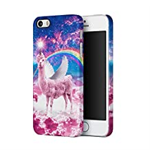 Unicorn Angel Llama Above Clouds Stars Space Galaxy Rainbow Apple iPhone 5, iPhone 5s, iPhone SE Plastic Phone Protective Case Cover