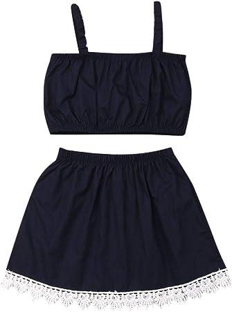 Leadmall Baby Clothes Conjunto de Falda de Halter para niña pequeña, Correa de Color sólido sin Mangas, Parte Superior Recortada + Mitad de Vestido Lateral de Encaje, 2 Piezas de Ropa para