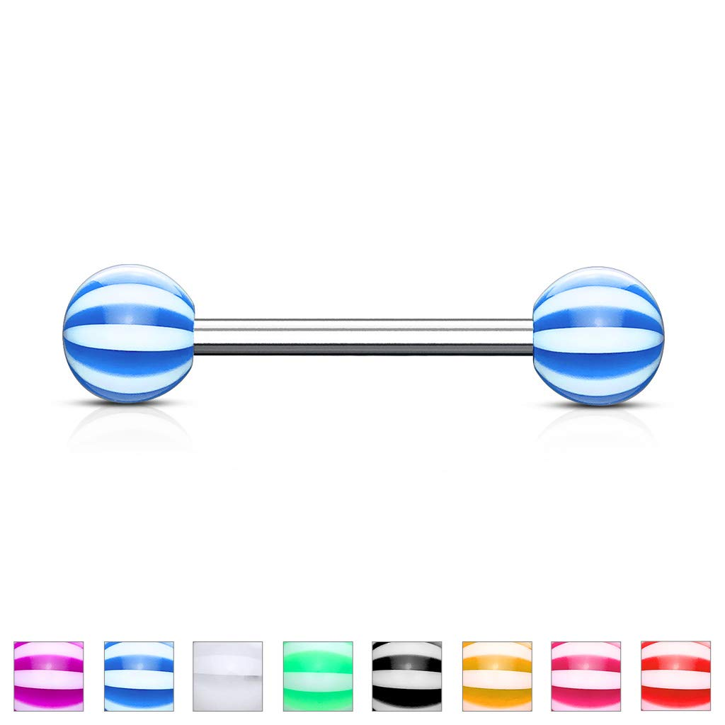 Inspiration Dezigns Pair of Candy Stripe Acrylic Ball 316L Surgical Stainless Steel Barbell