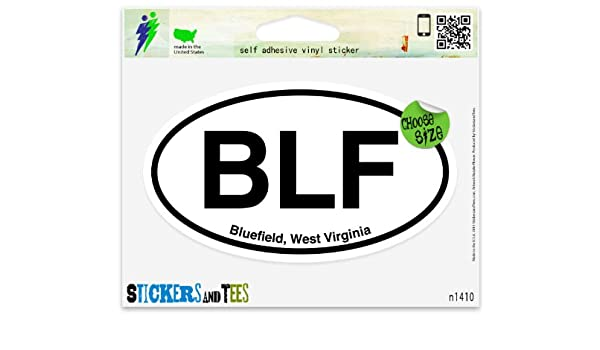 "BLF Bluefield West Virginia Oval car window bumper sticker decal 5/"" x 3/"""