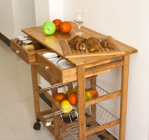 Haotian FKW06-N, Kitchen Storage Cart with Shelves & Drawers,Hostess Trolley,Kitchen Island,72x 37 x 77.5cm,Bamboo