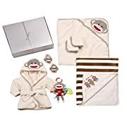 Baby Starters 7-Piece Sock Monkey Bath and Bed Set