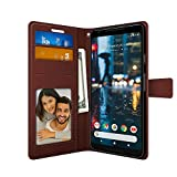FOSO(™) High Quality PU Leather Magnetic Flip Cover Wallet Back Cover Case For Google Pixel 2 (PUL Leather Brown)