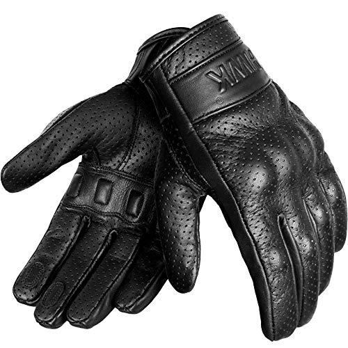 HWK Motorcycle Gloves Men Motocross Motorbike Tactical Moto Riding Biker Leather Driving Racing Gloves (L)
