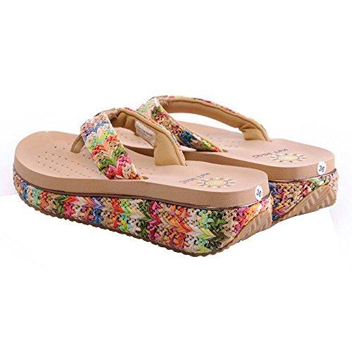 Scarpe Donna PVC Eva Casual Tallone Piano Infradito Pantofole all'aperto Altri Colori Disponibili, Apricot, 37