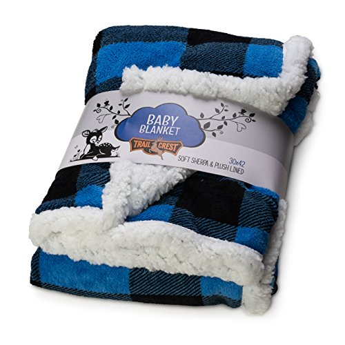 553e76f3c2a84 TrailCrest Baby Soft Sherpa Blanket-Plush Fleece Reversible Plaid and  Nordic All-Season Pattern