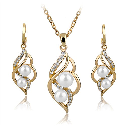 Long Way Fashion Gold/Silver Plated Austrian Crystal Necklace Drop Earrings Set Imitated Pearl Jewelry Set Wedding Jewelry For Women (Plated Pearl Set)