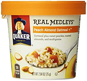 Quaker Oats Real Medleys Peach Almond Oatmeal Plus Cereal, 2.64 Ounce