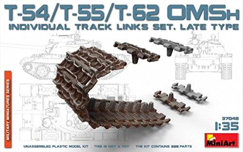 - PLASTIC T-54,T-55,T-62 OMSh INDIVIDUAL TRACK LINKS SET LATE TYPE 1/35 MINIART 37048 Series: Military Miniatures, Parts QTY: 228