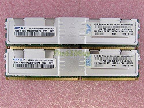 (IBM 8GB 2 x 4GB PC2-5300F DDR2 667 Fully Buffered ECC Server Memory Kit 46C7423)