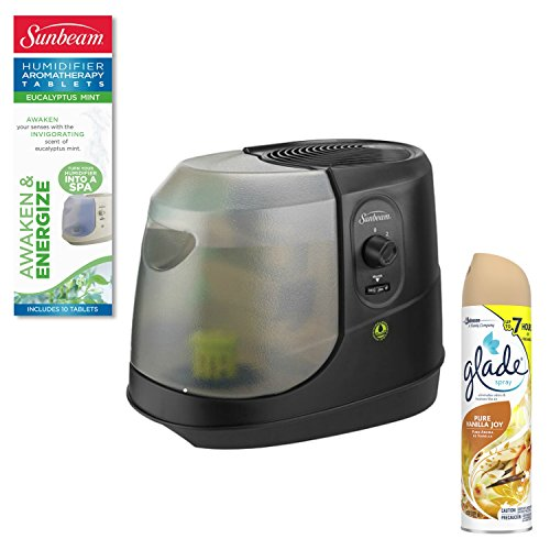 Sunbeam Cool Mist Humidifier with Triple-Layer Filter, BLACK with Sunbeam Humidifier Tablet, Mint / Awaken & Energize Plus BONUS Glade Room Spray Air Freshener