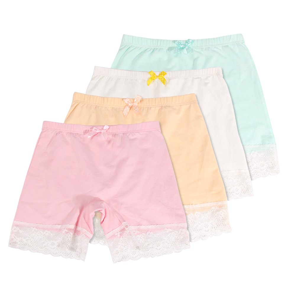 Girls Lace Underwear Briefs, Dance, Bike Shorts,4 Packs Safety Legging Panties-for Sports, Play Under Skirts(1-2 Years/110cm)