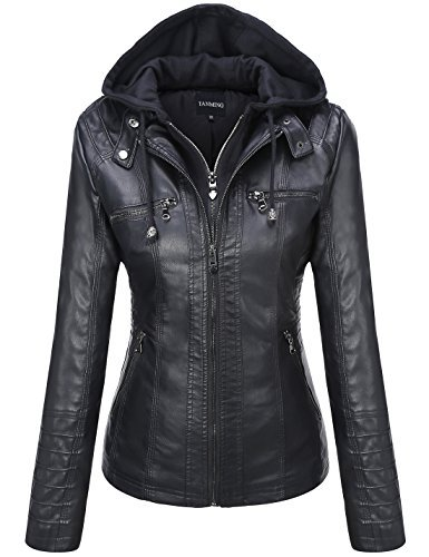 Tanming Women's Womens Hooded Faux Leather Jackets (Large, Black)