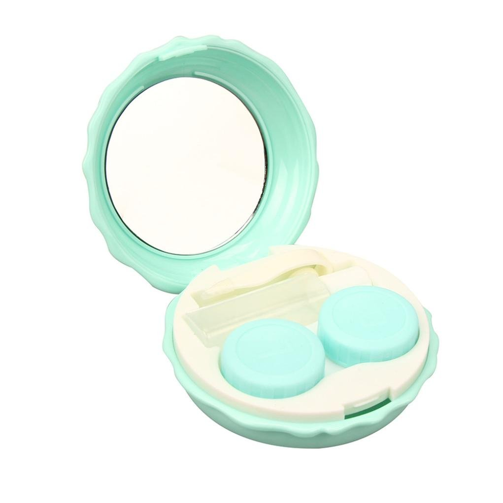 TONSEE Mini Simple Contact Lens Travel Case Box Container Kit Set Holder With Mirror (Blue)
